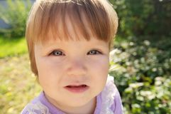 Cute baby girl portrait at summer. Adorable child outdoor royalty free stock image