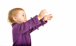 Cute Baby Girl Reaching For Something. Portrait of baby girl looking up to reach something Stock Photo