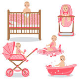 Cute Baby Girl Set. Royalty Free Stock Images