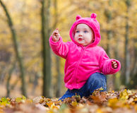 Cute baby girl sitting in autumn leaves Stock Photography