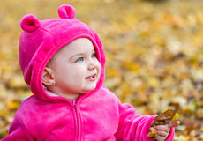 Cute baby girl sitting in autumn leaves Stock Images