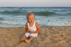 Child girl on the beach Royalty Free Stock Photography