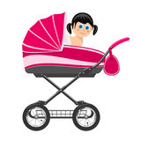 Cute baby girl sitting in stroller. Royalty Free Stock Image