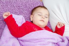 Cute baby girl sleeping Royalty Free Stock Image