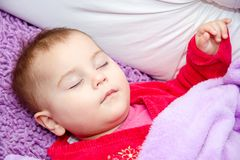 Cute baby girl sleeping Royalty Free Stock Images