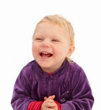 Cute baby girl smiling on white background Stock Image