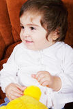 Cute baby girl with soft toy Royalty Free Stock Image