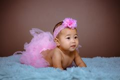 Cute baby girl from Asia pose stock photography