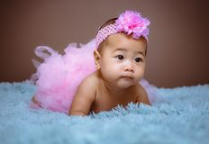 Cute baby girl from Asia pose stock images