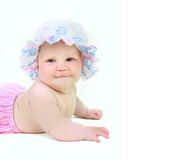 Cute baby girl in summer hat Royalty Free Stock Photos