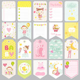 Cute Baby Girl Tags. Baby Banners. Scrapbook Labels. Cute Cards Royalty Free Stock Images