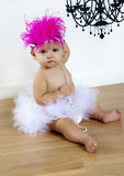 Cute Baby girl in tutu and hat Stock Photos