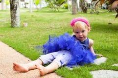 Cute baby-girl in tutu skirt Royalty Free Stock Image