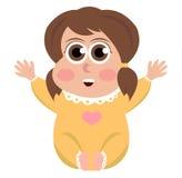 Cute baby girl vector, eps, icon. Cute baby girl vector, eps, icon, logo, jpg  white background Stock Photo