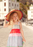 Cute baby girl walking outdoors Royalty Free Stock Images