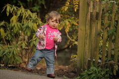 Cute baby girl walking Royalty Free Stock Image