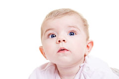Cute baby girl watching with big Royalty Free Stock Image