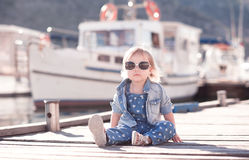 Cute baby girl wearing denim clothes Royalty Free Stock Images