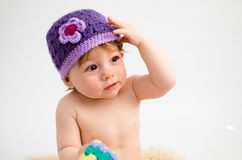 Cute baby girl wearing a hat Royalty Free Stock Photos