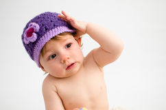 Cute baby girl wearing a hat Royalty Free Stock Images