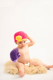 Cute baby girl wearing a hat Stock Images