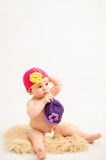 Cute baby girl wearing a hat Royalty Free Stock Photo