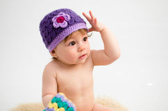 Cute baby girl wearing a hat Stock Photography