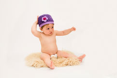 Cute baby girl wearing a hat Stock Image