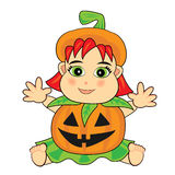 Cute baby girl wearing a jack o lantern costume Royalty Free Stock Photography
