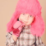 Cute baby girl wearing winter clothes Royalty Free Stock Images