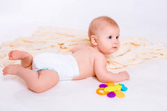 Cute baby girl on white background Stock Image