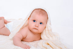 Cute baby girl on white background with isolation Royalty Free Stock Image