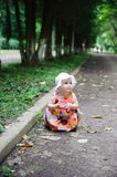 Cute baby girl in white hat Royalty Free Stock Photo