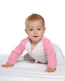 Cute baby girl on the white towel Royalty Free Stock Image