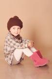 Cute baby girl in winter clothes Stock Photos