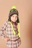 Cute baby girl in winter clothes Stock Images