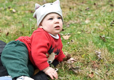 Cute Baby in the Grass Stock Photography