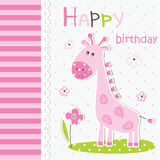 Cute baby greeting card with cartoon giraffe Royalty Free Stock Images