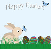 Cute baby greeting card happy Easter. Bunny rabbit in the meadow. With grass and Easter eggs. vector illustration Stock Photos