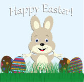 Cute baby greeting card happy Easter. Bunny rabbit in the meadow. With grass and Easter eggs. vector illustration Stock Image