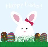 Cute baby greeting card happy Easter. Bunny rabbit in the meadow. With grass and Easter eggs. vector illustration Royalty Free Stock Image