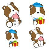 Cute baby hamster cartoon feeding bottle collection. Cute baby animal cartoon holding feeding bottle collectionin vector format very easy to edit stock illustration