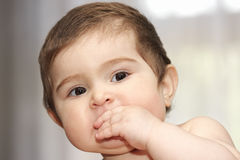 Cute baby with hand at mouth Royalty Free Stock Images