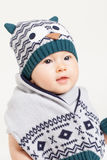 Cute baby with hat and scarf Stock Photography