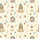 Cute baby hedgehog  and bear animal seamless pattern for kinderg Royalty Free Stock Photos
