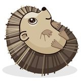Cute Baby Hedgehog Lying on its Back Cartoon Style Nursery Vector Illustration Isolated on White. All elements are grouped together logically and easy to edit Royalty Free Stock Photos