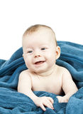 Cute baby hideing in blue blanket Stock Photography