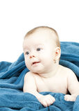 Cute baby hideing in blue blanket Royalty Free Stock Photography