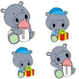 Cute baby hippo cartoon feeding bottle collection. Cute baby animal cartoon holding feeding bottle collectionin vector format very easy to edit royalty free illustration