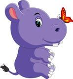 Cute baby hippo Cartoon Stock Image